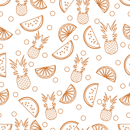 Seamless pattern with pineapples, orange slices, watermelon slices. Tropical fruit. Summer background. Vector Illustratie