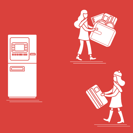 Vector illustration with two girls use ATM services. Bank card, wallet, banknote, coin. Personal finance management. Design for banner, poster or print. Vektorové ilustrace