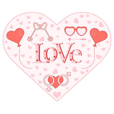 Ballons, clés, symboles de genre, lunettes en forme de cœur. Inscription amour avec coeurs. Anniversaire, fond de vecteur pour la Saint-Valentin.