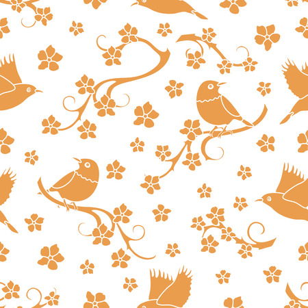 Seamless pattern with sakura branches, birds. Japan nature. Branches of cherry blossoms. Design for card, announcement, advertisement, banner or print. Archivio Fotografico - 125159525