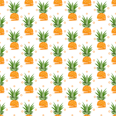 Vector seamless pattern with pineapples, pineapple slices. Tropical fruit. Summer background. Archivio Fotografico - 125159531