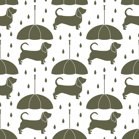 Seamless pattern with rain and dog under an umbrella. Friendship. Animal protection. Archivio Fotografico - 125159532