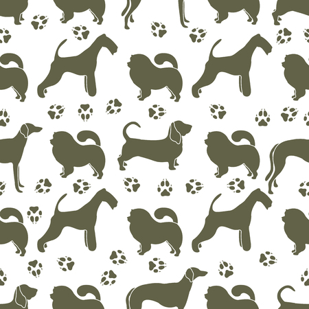 Seamless pattern with dogs of different breeds, dog tracks. Animal background. Design for card, announcement, advertisement, banner or print. Archivio Fotografico - 125159539