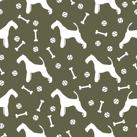 Seamless pattern with dog, bone, tennis ball. Friendship. Animal background. Archivio Fotografico - 125159542