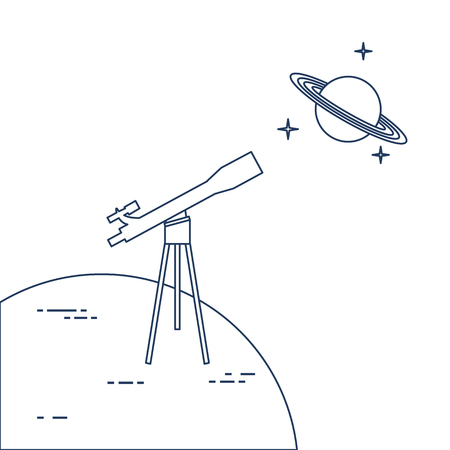 Vector illustration with telescope, planet Saturn with ring system. Astronomy. Design for banner, poster, textile, print. Çizim