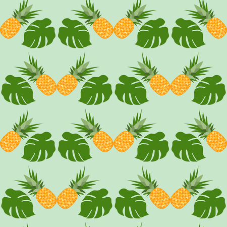 Vector seamless pattern with pineapples, monstera leaves. Tropical fruit. Summer background. Archivio Fotografico - 125159567