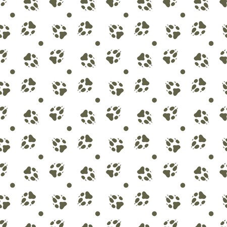 Seamless pattern with dog tracks. Animal background. Design for card, announcement, advertisement, banner or print. Archivio Fotografico - 125159570