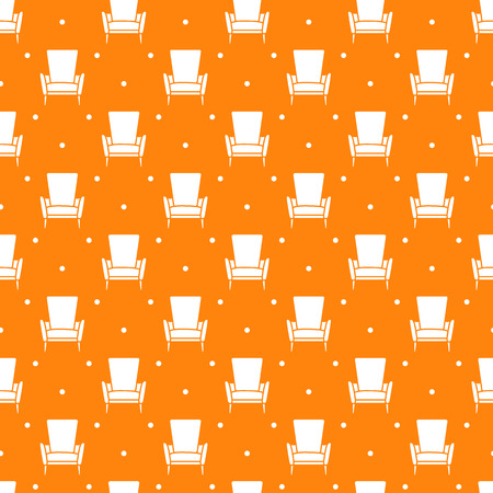 Vector seamless armchair pattern. Cushioned furniture. Design for banner, poster or print. Archivio Fotografico - 125159587