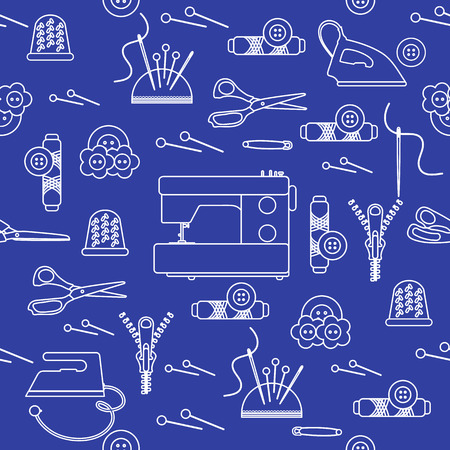 Seamless pattern with zipper, needles, thimble, pins, threads, buttons, scissors, sewing machine, iron. Sewing and needlework background. Template for design, fabric, print. Archivio Fotografico - 125159596