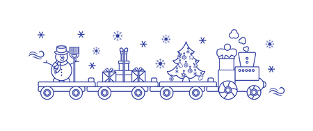 Funny vector illustration with Christmas train carries Christmas tree, snowman with broom, gifts. Happy New Year 2019, Christmas card. Archivio Fotografico - 125159598
