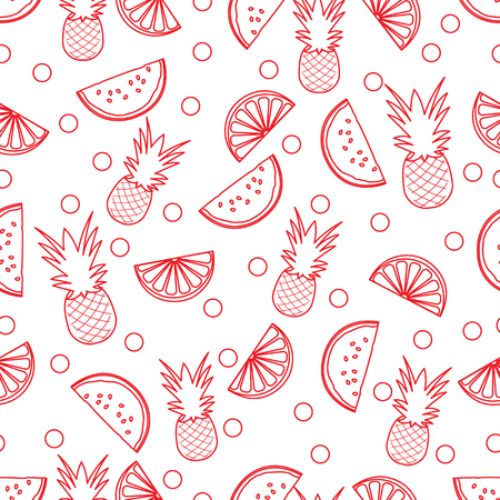 Seamless pattern with pineapples, orange slices, watermelon slices. Tropical fruit. Summer background. Archivio Fotografico - 125159615