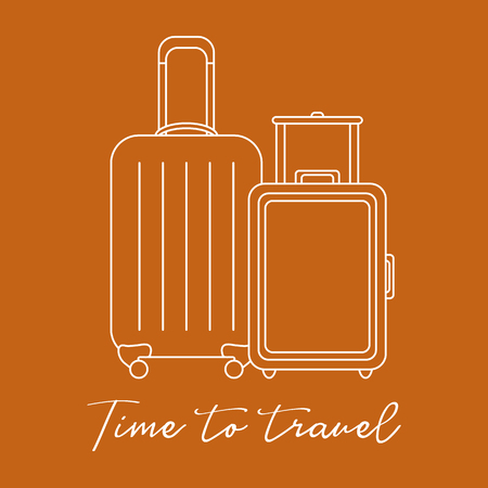 Vector illustration with two suitcases. Summer time, vacation. Leisure. Иллюстрация
