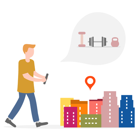 Application of augmented reality: AR for navigation in city. Man with modern device plans to buy sporting goods, find a fitness club in city. Navigation pointers to shops.
