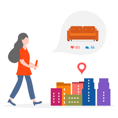 Application of augmented reality: AR for navigation in city. Girl with modern device plans to buy sofa in a mall in city by comments, likes. Navigation pointers to shops.