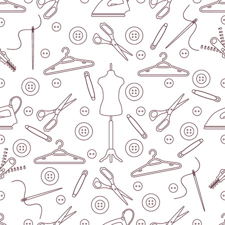 Vector seamless pattern with tools and accessories for sewing. Template for design, fabric, print.