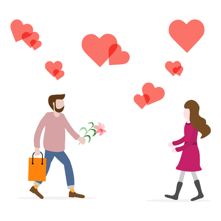 Man with flower and gift rushing for a date with woman, hearts. Birthday, Valentine's day, Mother's Day vector background. Design for greeting card, banner, poster or print.