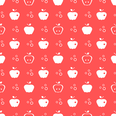 Seamless pattern with apples. Vector illustration with apple and leaf. Fruit background. Design for poster, textile, greeting card. 向量圖像