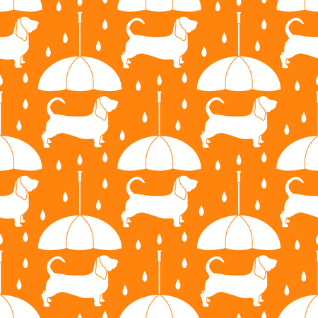 Seamless pattern with rain and dog under an umbrella. Friendship. Animal protection.