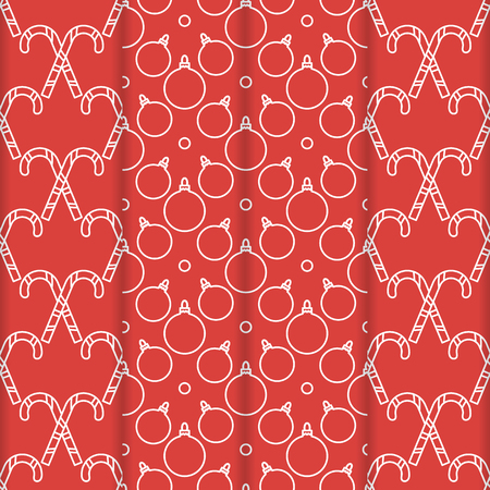 Set of 4 Happy New Year 2019 and Christmas seamless pattern. Vector illustration with candy canes and Christmas balls. Design for wrapping, fabric, print.