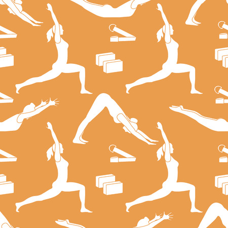 Seamless pattern with women in yoga poses, blocks, belt for yoga. Relax and meditate. Healthy lifestyle. Balance training. Design for banner and print. Illustration