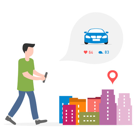 Application of augmented reality: AR for navigation in city. Man with modern device plans to rent, buy car in city. Navigation pointers to shops.