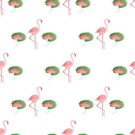 Seamless pattern with flamingo, flowers and leaves water lilies. Tropical exotic bird background. Design for poster or print.