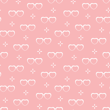 Seamless pattern with heart shaped glasses. Greeting card happy Valentines Day. Romantic background. Design for banner, poster or print. Ilustração