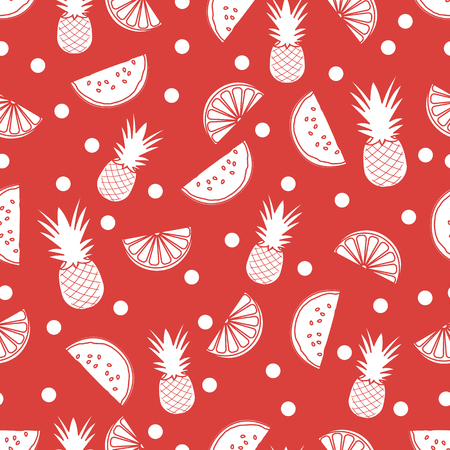 Seamless pattern with pineapples, orange slices, watermelon slices. Tropical fruit. Summer background. Ilustração