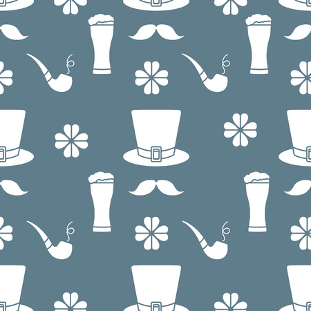 Seamless pattern with clover leaves, mustache, glass of beer, hat, smoking pipe. St. Patricks Day. Holiday background. Irish vector pattern. Design for banner, poster, textile, print. Ilustração