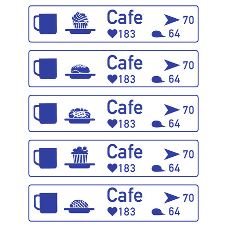 Application of augmented reality: AR for navigation in city or shopping center. Choosing cafe by location, comments and likes. Banco de Imagens - 124987126