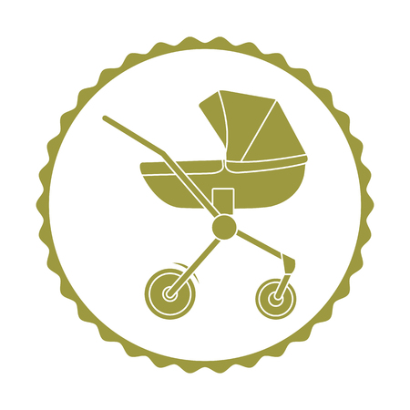 Vector illustration with baby carriage. Things necessary for newborns. Pram. Baby stroller. Imagens - 124987135