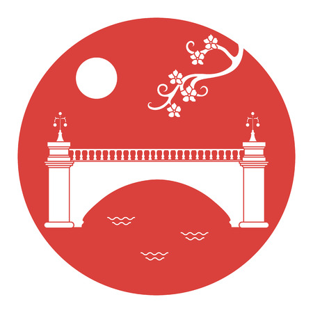 Vector illustration with sakura branch and old bridge. Japan traditional design elements. Branches of cherry blossoms. Travel and leisure. Ilustração