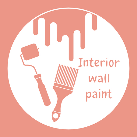 Vector illustration with tools for painting works. Building, construction and home repair tools. Painting and repair of premises.