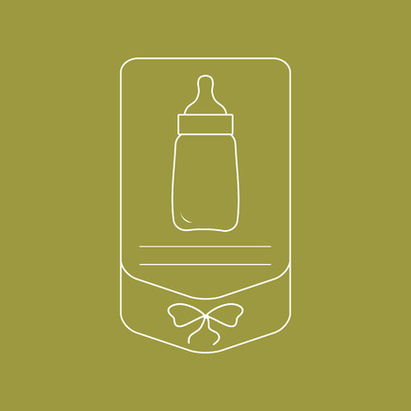 Vector illustration with baby bottle. Feeding bottle. Things necessary for newborns. Nutrition for babies. Imagens - 124987144
