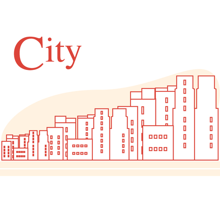 Vector illustration with cityscape. Urban landscape. Buildings. City panorama. Design for announcement, advertisement, banner or print. 일러스트
