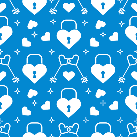 Seamless pattern with hearts, lock, keys in heart shape. Greeting card happy Valentines Day. Romantic background. Design for banner, poster or print.