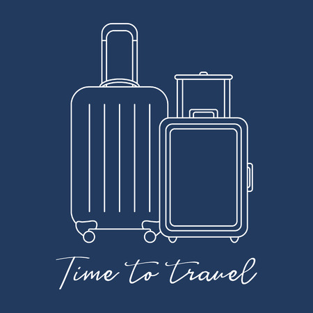 Vector illustration with two suitcases. Summer time, vacation. Leisure. Illustration