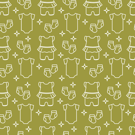Seamless pattern with baby clothes. Vector illustration with slip, socks, bodysuit. Newborn baby background. Imagens - 124987155