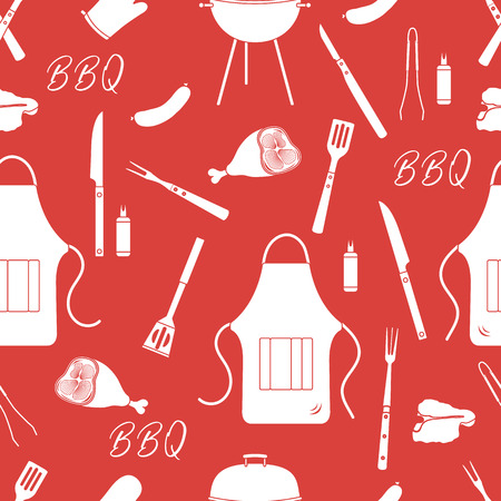 Seamless pattern with grill and barbecue tools. BBQ party background. Design for party card, banner, poster or print. Иллюстрация