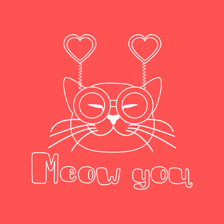 Vector illustration with muzzle of cat in carnival glasses with hearts. Greeting card happy Valentine's Day. Romantic background. Carnival festive concept. Foto de archivo - 124987157