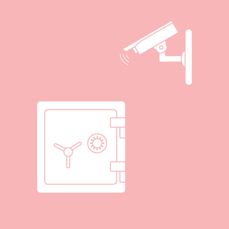 Vector illustration with security camera and safe. Ensuring the safety of savings.