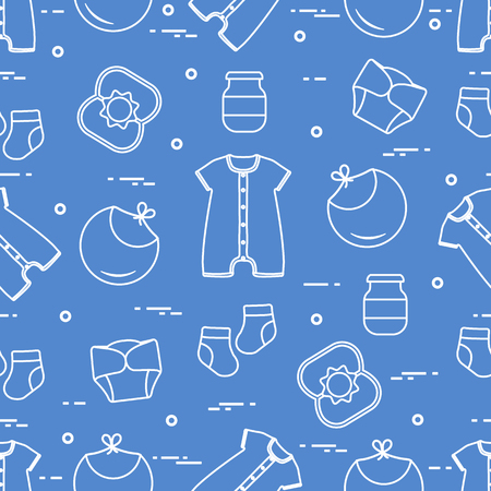 Seamless pattern with goods for babies. Newborn baby background. Bib, baby food can, rattle, socks, diapers, bodysuit. 일러스트