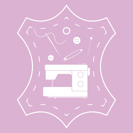 Vector illustration with tools and accessories for sewing. Button, thread, sewing machine, pins, needle. Template for design, fabric, print. Ilustração