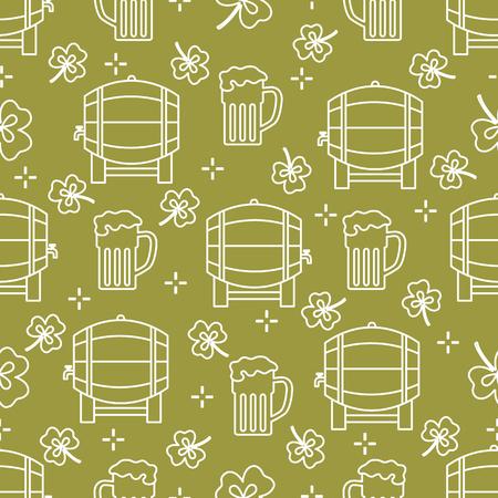 Seamless pattern with clover leaves, beer barrel, beer mug. St. Patricks Day. Holiday background. Irish vector pattern. Design for banner, poster, textile, print. Ilustração