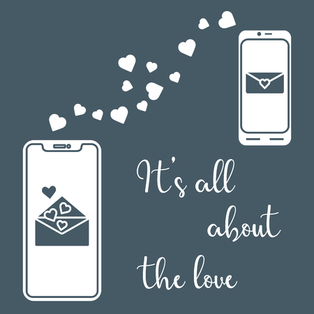 Vector illustration with two mobile phones, hearts and love correspondence. Love message. Happy Valentines Day. Romantic background.