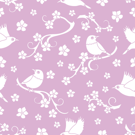 Seamless pattern with sakura branches, birds. Japan nature. Branches of cherry blossoms. Design for card, announcement, advertisement, banner or print. Ilustrace