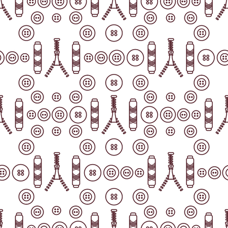 Seamless pattern with zipper, buttons, threads. Sewing and needlework background. Template for design, fabric, print. Banco de Imagens - 124987171