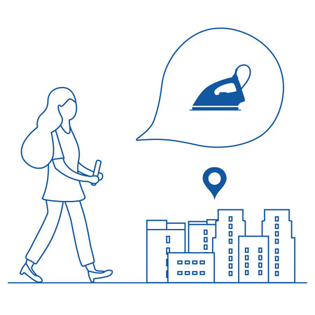 Application of augmented reality: AR for navigation in city. Girl with modern device plans to buy home appliances in the store in city. Navigation pointers to shops.