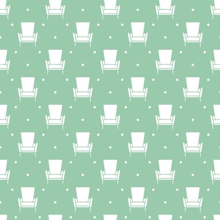 Vector seamless armchair pattern. Cushioned furniture. Design for banner, poster or print.
