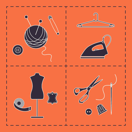 Vector illustration with tools, accessories for sewing. Buttons, clew, knitting needles, threads, iron, hanger, thimble, pins, needle, scissors, dummy, tape. Template for design, fabric, print.